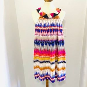 Trina Turk Stunning 100% Silk Multicolor Dress EUC